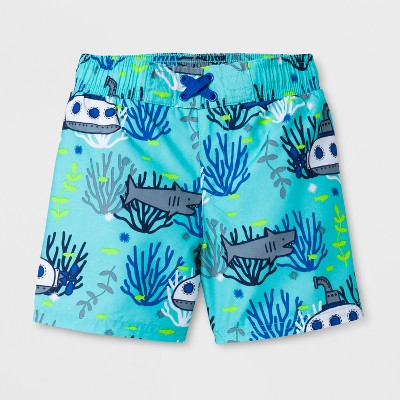 Toddler Boys' Submarine and Shark Swim Trunks - Cat & Jack™ Aqua 3T
