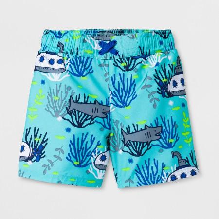 Toddler Boys' Submarine and Shark Swim Trunks - Cat & JackAqua 3T