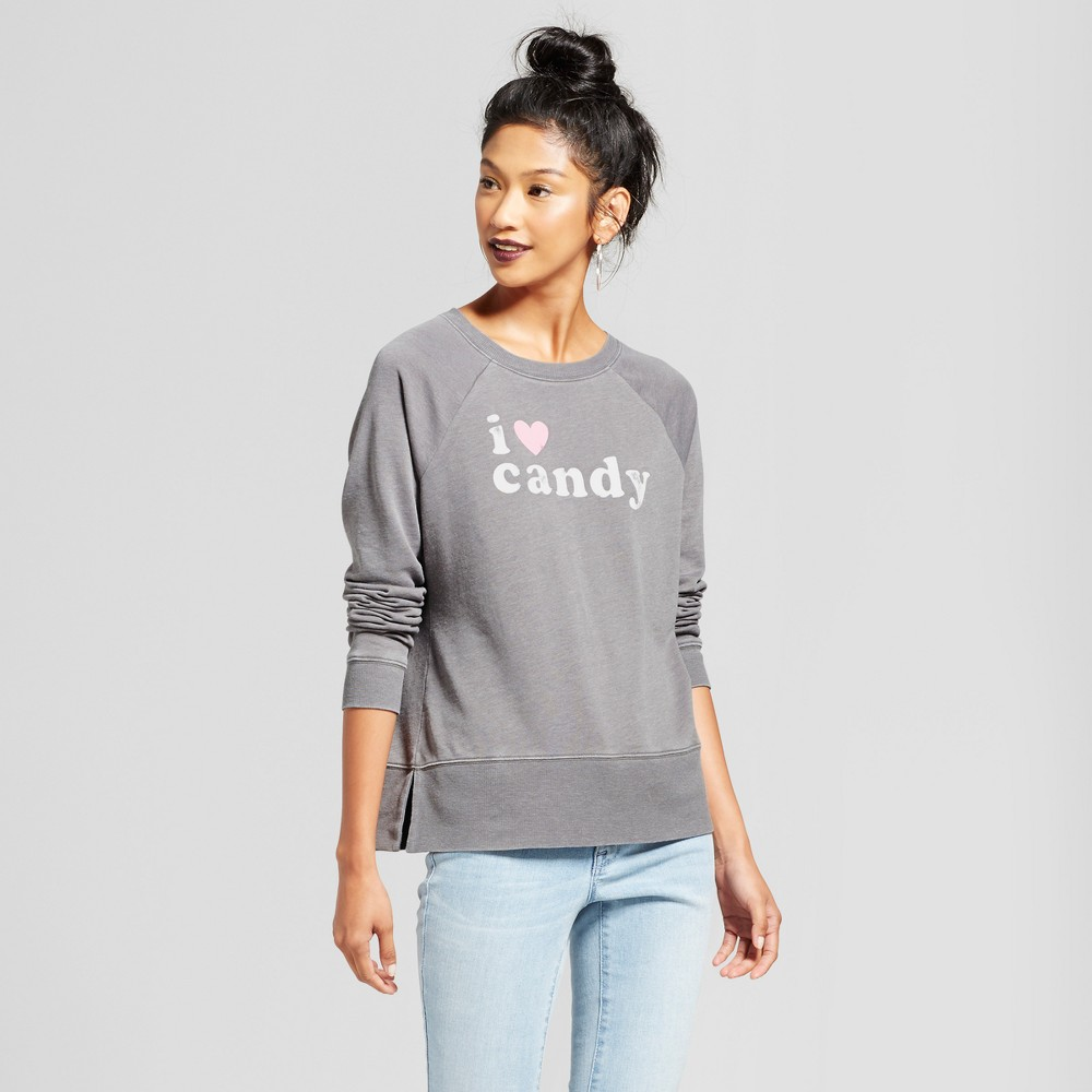 Womens I Heart Candy Pullover Graphic Sweatshirt - Grayson Threads (Juniors) Charcoal XL, Gray