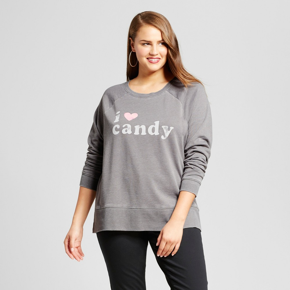 Womens Plus Size I Heart Candy Pullover Graphic Sweatshirt - Grayson Threads (Juniors) Charcoal 1X, Gray