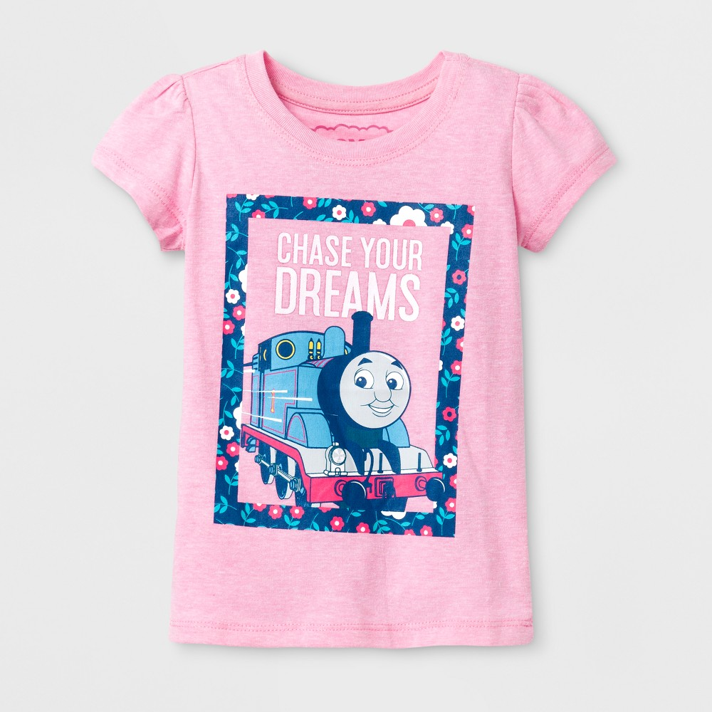 Toddler Girls Thomas and Friends T-Shirt - Heather Gray 4T, Pink