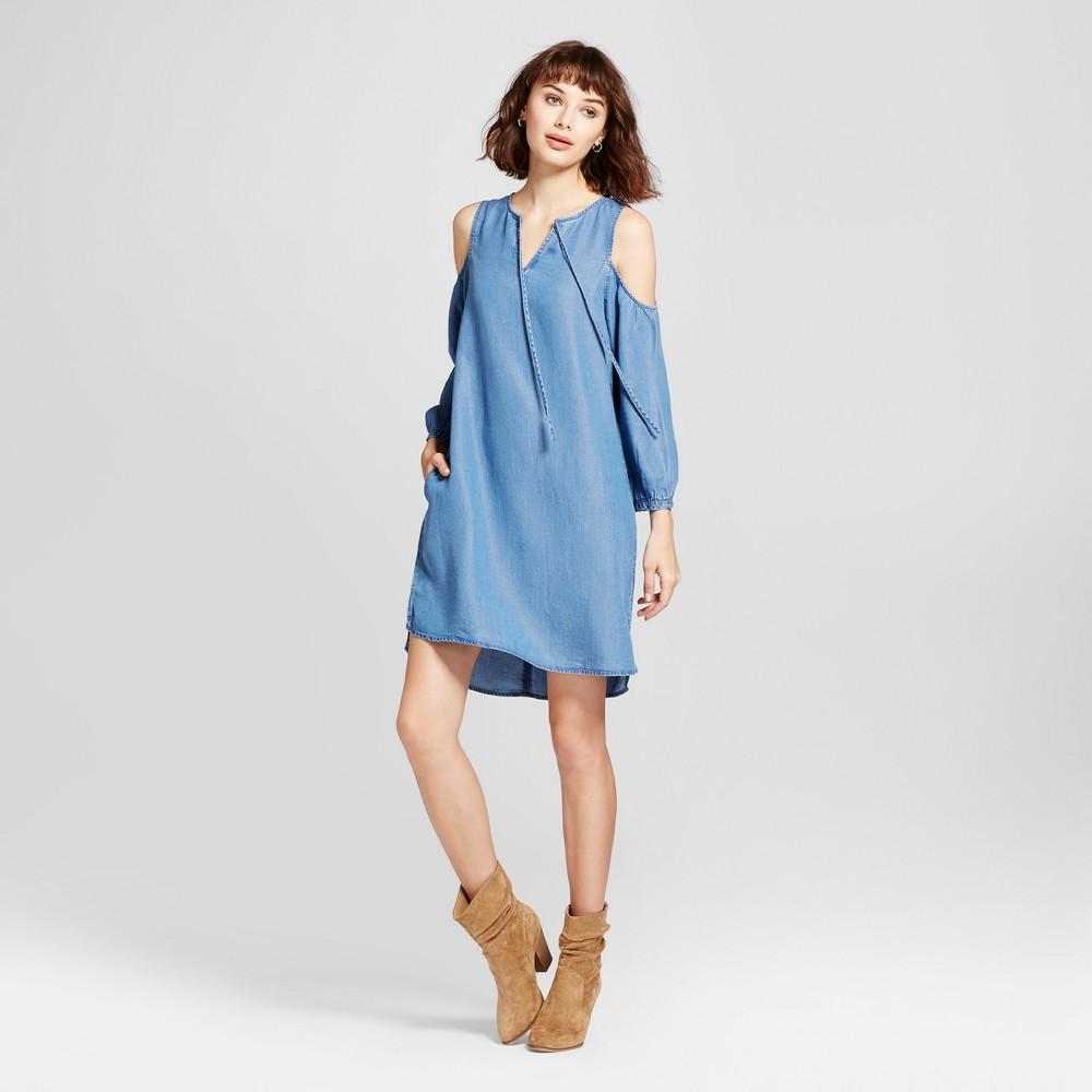 Womens Tencel Cold Shoulder Dress - Alison Andrews Denim Blue L
