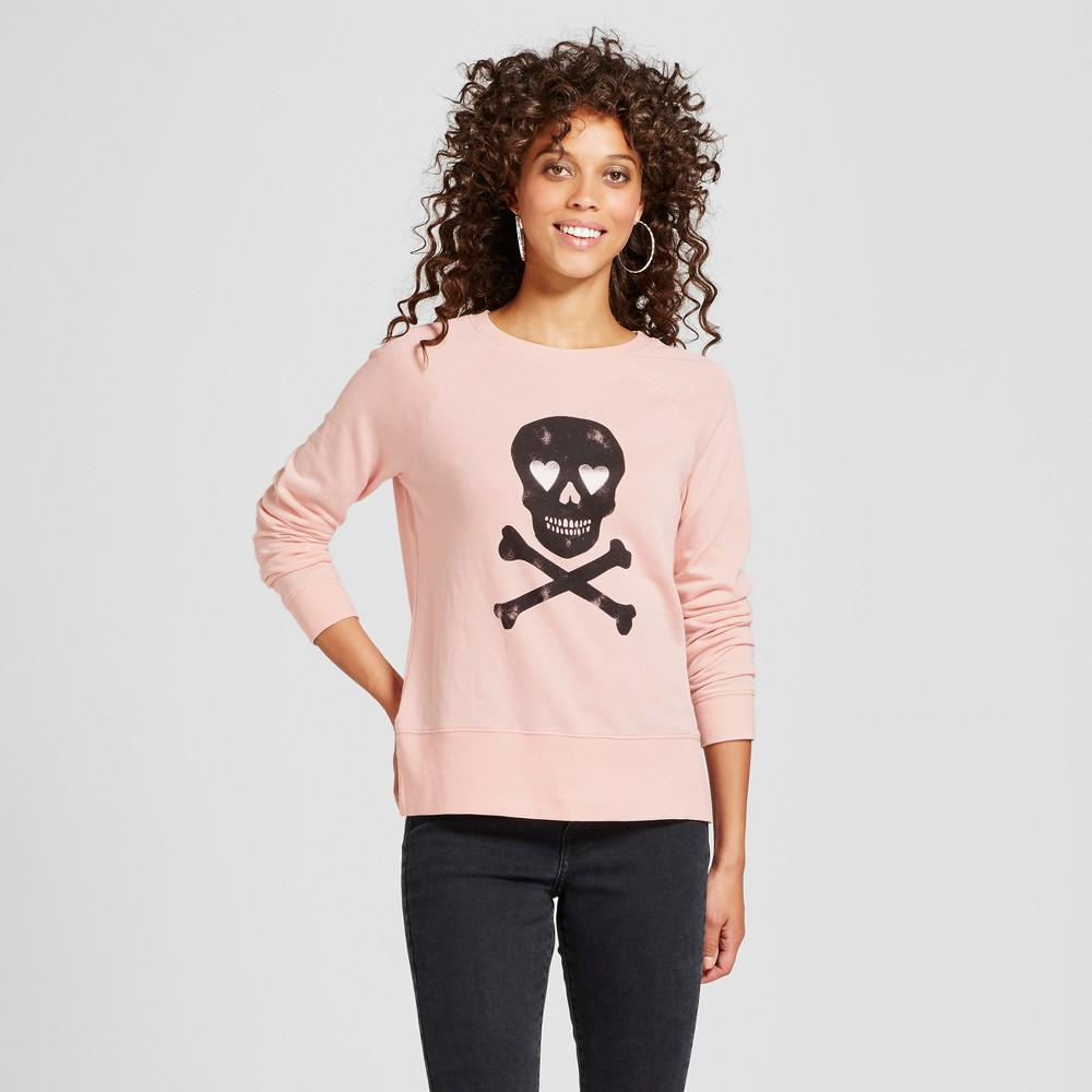 Womens Skull Pullover Graphic Sweatshirt - Grayson Threads (Juniors) Pink M