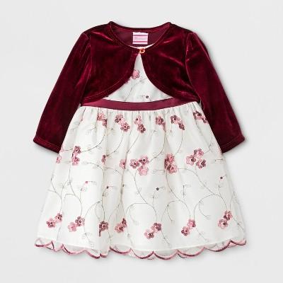 Rosenau Baby Girls' Floral Dress with Velour Jacket - Burgundy 3-6M