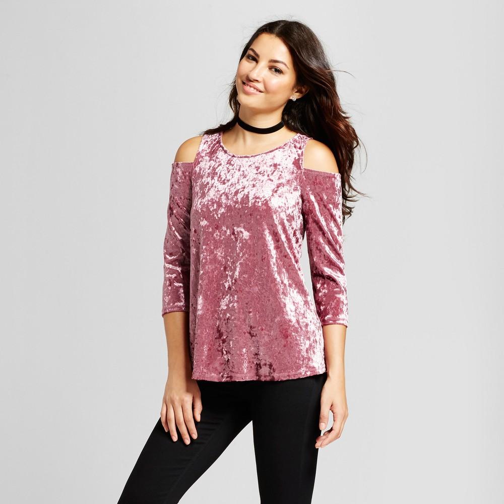 Womens Cold Shoulder Velvet Top - Zac & Rachel Rosette L, Pink