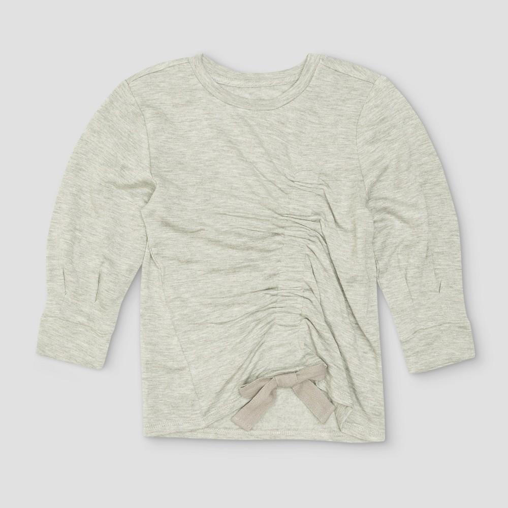 Toddler Girls Afton Street Tie Fleece Pullover Sweatshirt - Heather Grey - 12 M, Size: 12 Months, Gray