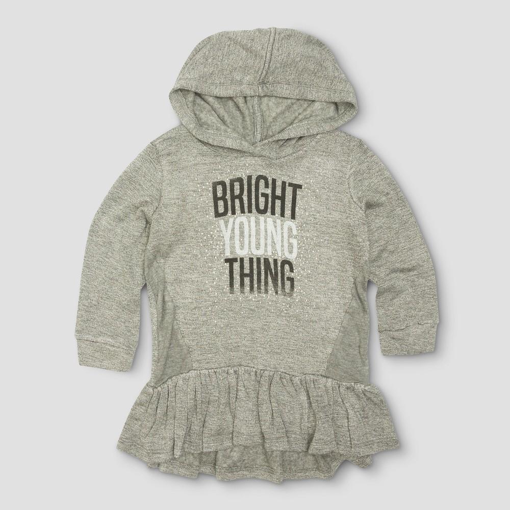 Toddler Girls Afton Street Tunic Fleece Hood Sweatshirt - Heather Grey - 18 M, Gray