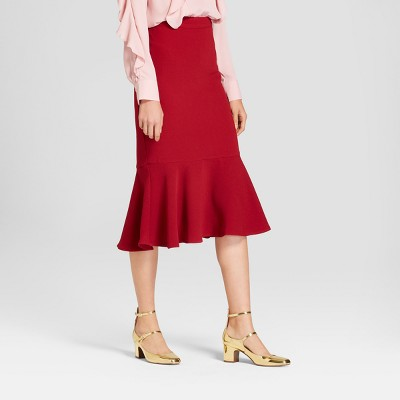 Womens Fluted Midi Skirt - Who What Wear™ Red 8