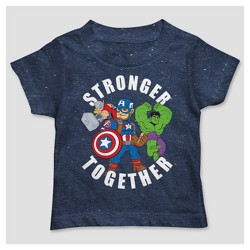 Toddler Boys' Marvel Short Sleeve Stronger Together Hero Group T-Shirt - Navy