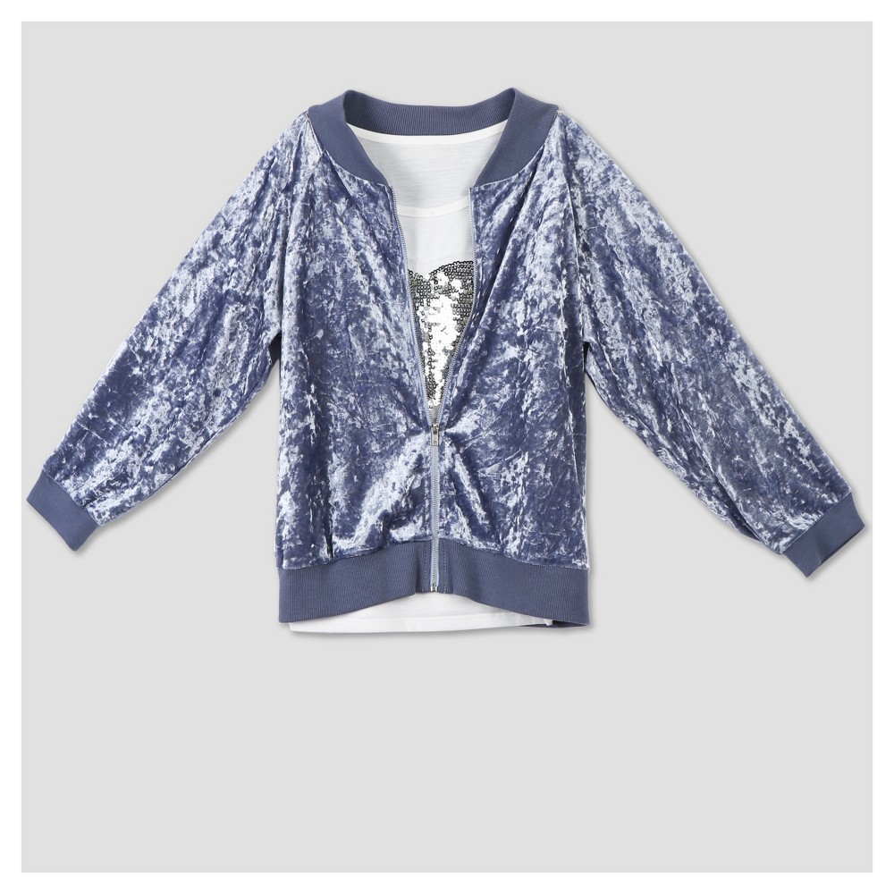 Lots of Love by Speechless Girls Bomber Jacket With Long Sleeve T-Shirt - Lite Blue/White M