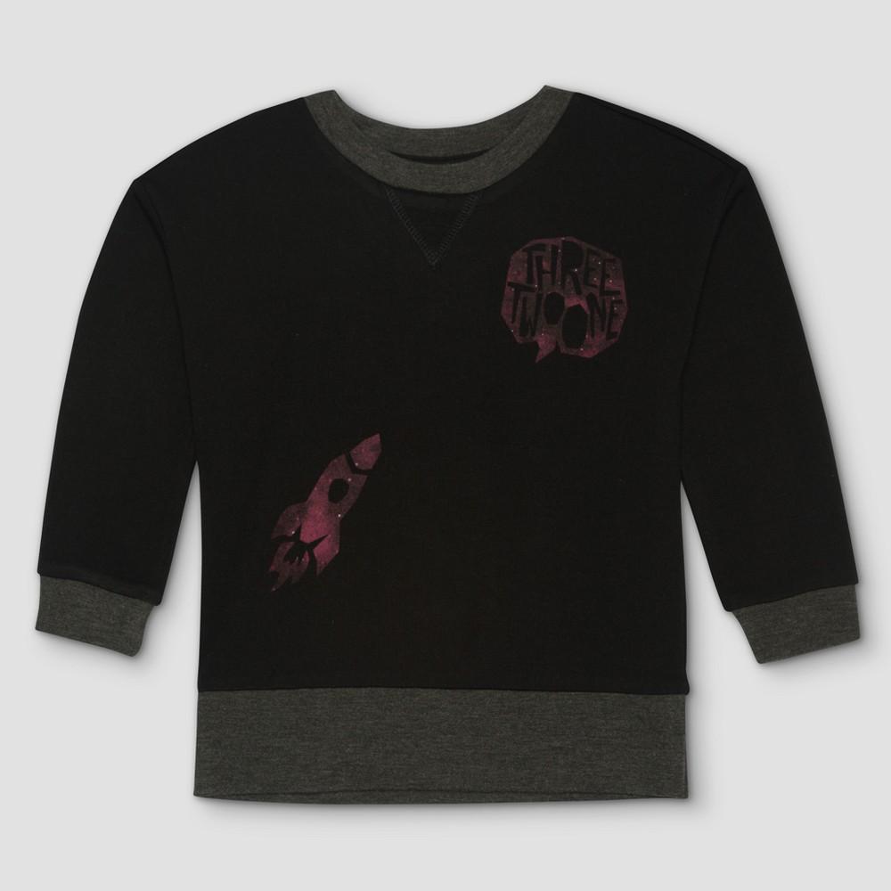 Toddler Boys Afton Street Rocket Pullover Long Sleeve T-Shirt - Black - 18 M