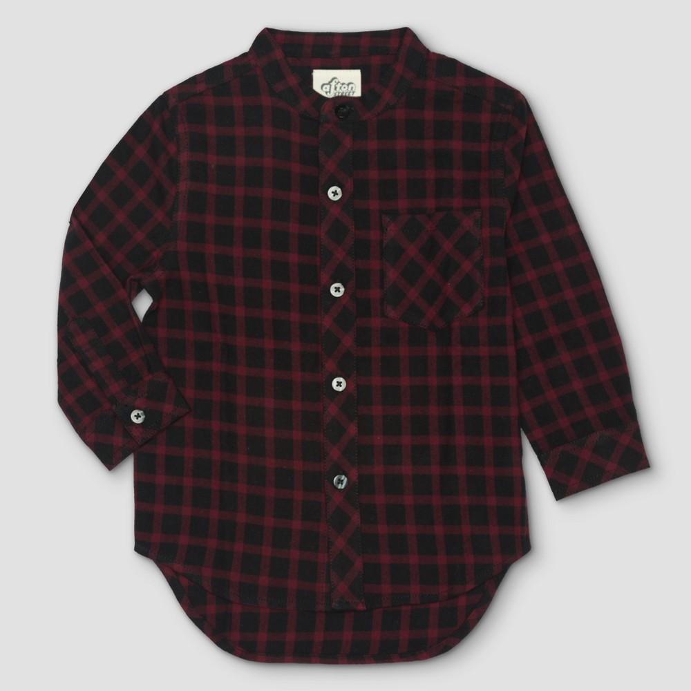 Toddler Boys Afton Street Flannel Top Button Down Shirt - Burgundian Wine - 18 M, Red
