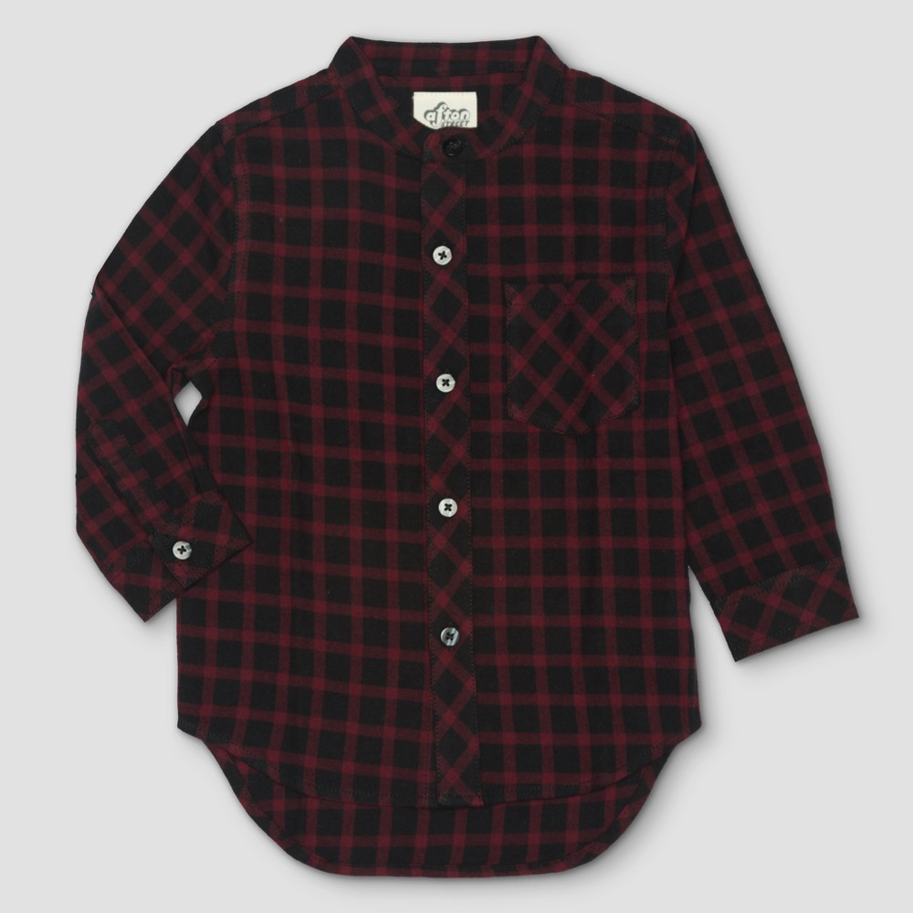 Toddler Boys Afton Street Flannel Top Button Down Shirt - Burgundian Wine - 4T, Red