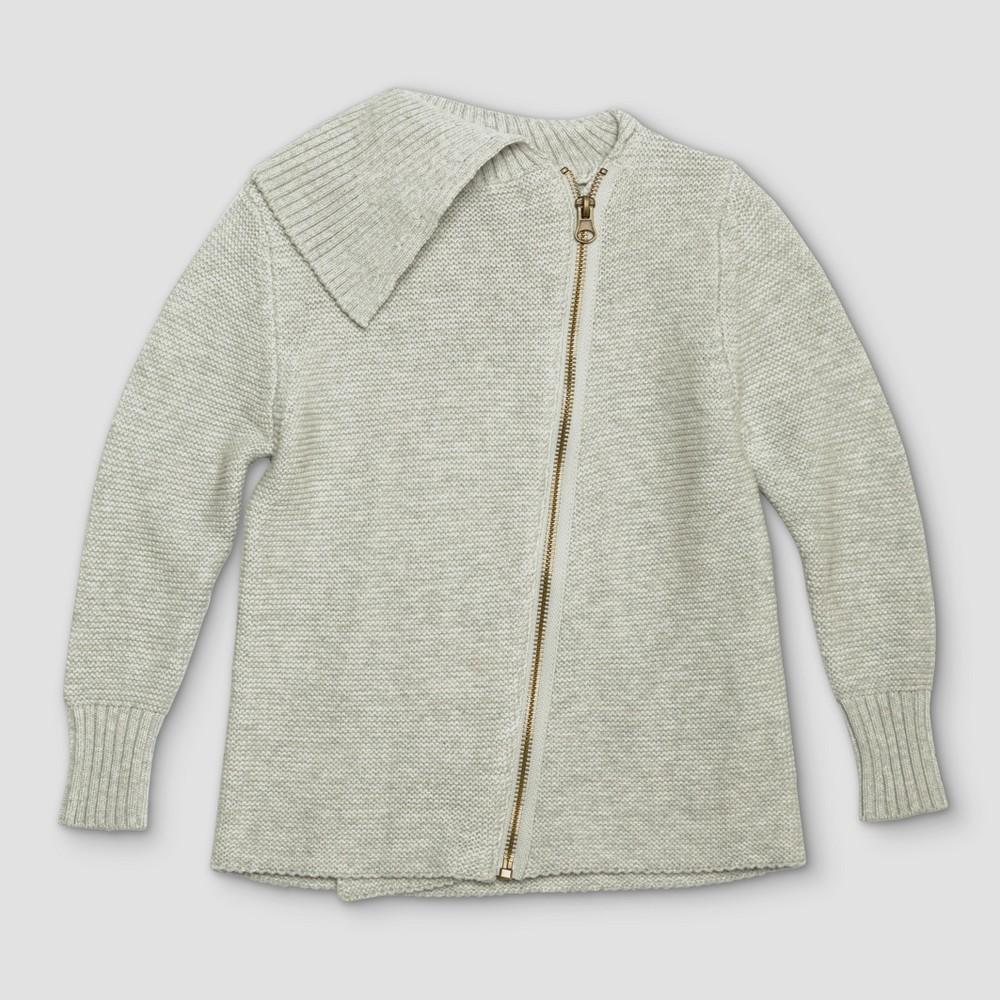 Toddler Girls Afton Street Cardigan Sweatshirt - Heather Gray - 12 Months, Gray White
