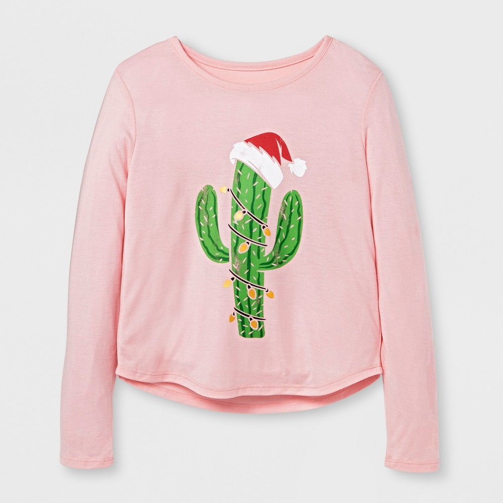 Girls Cactus Christmas Tree Graphic Long Sleeve T-Shirt - Pink M