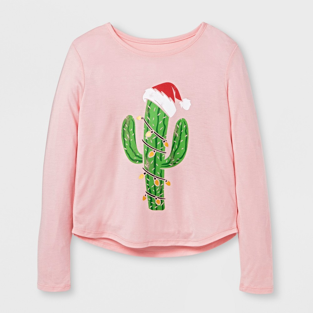 Girls Cactus Christmas Tree Graphic Long Sleeve T-Shirt - Pink L