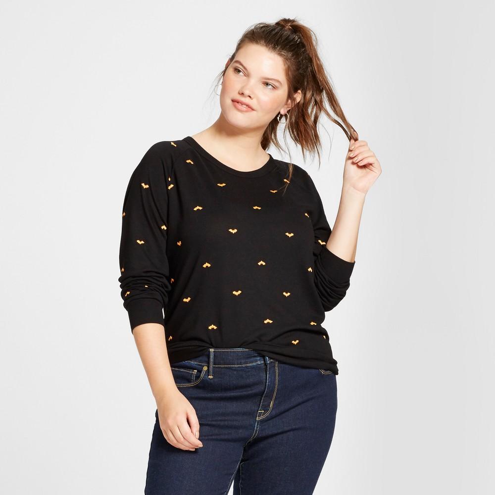 Womens Plus Size Embroidered Bat Halloween Graphic Sweatshirt - Modern Lux Black 3X