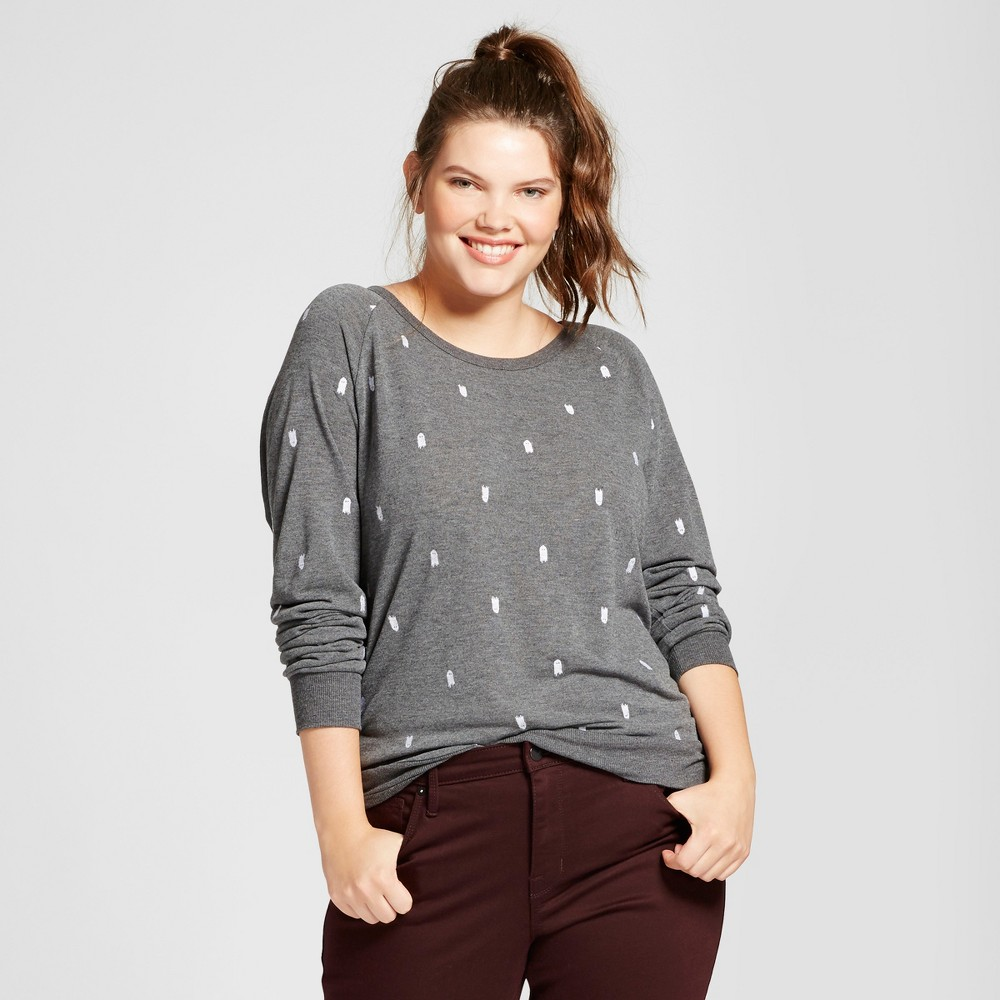 Womens Plus Size Embroidered Ghost Halloween Graphic Sweatshirt - Modern Lux Gray 1X