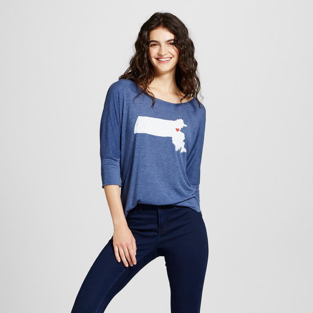 Womens Boston Map 3/4 Sleeve Tunic Top - Awake Navy XL, Blue