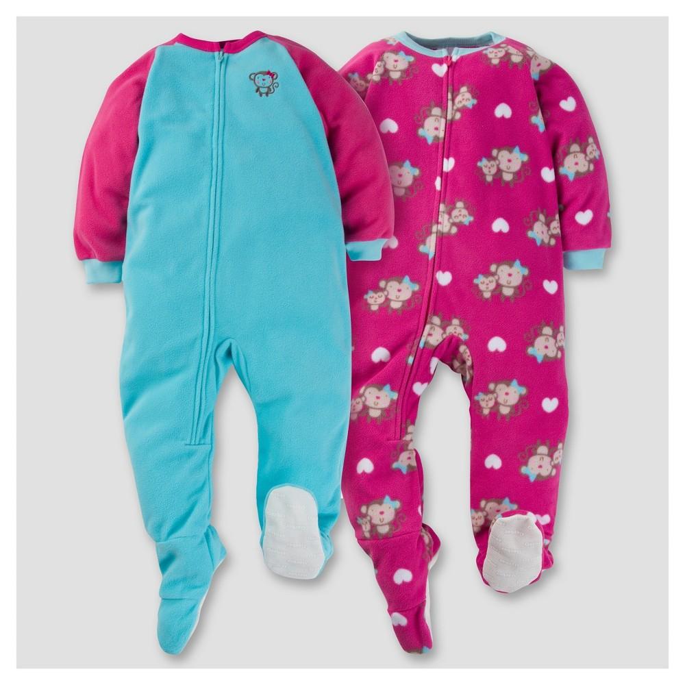 Gerber Toddler Girl 2pk Happy Monkey Microfleece Zip-Front Footed Blanket Sleepers - Turquoise 3T, Green