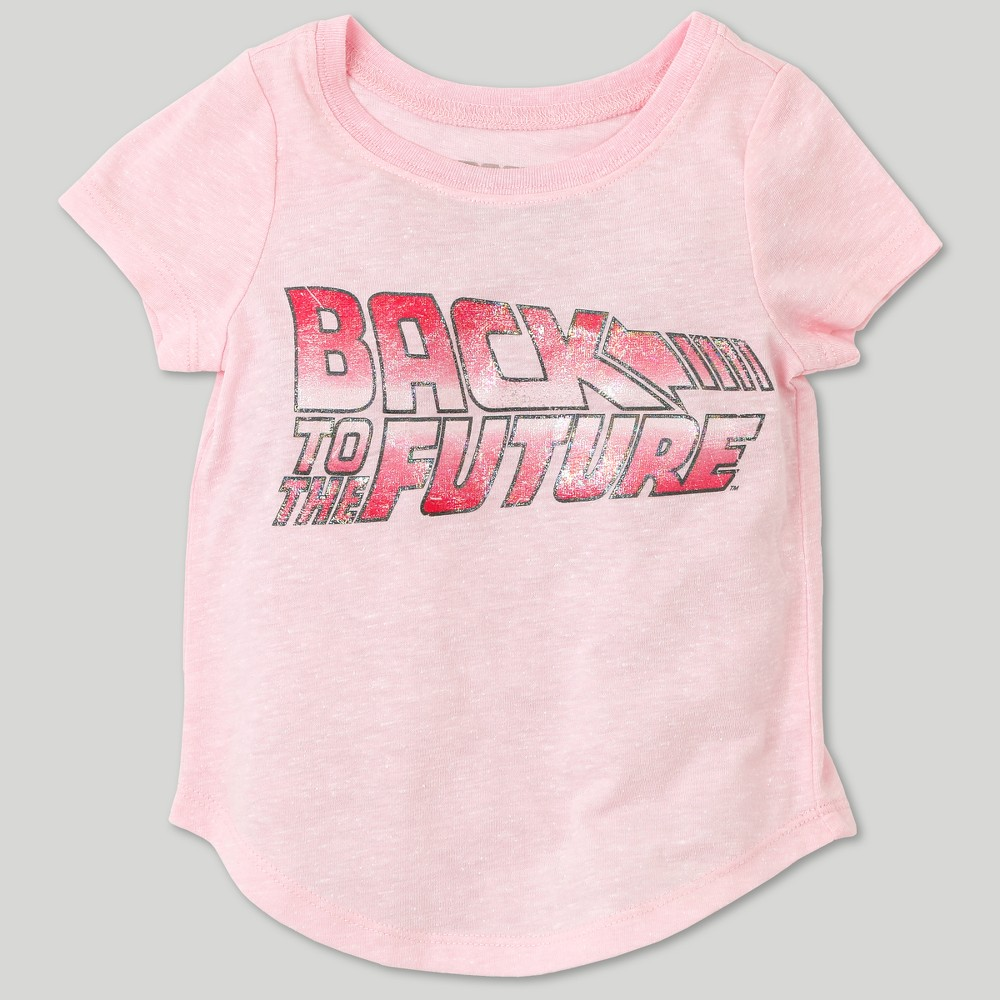 Toddler Girls Back to the Future Short Sleeve T-Shirt - Pink - 12 M, Size: 12 Months
