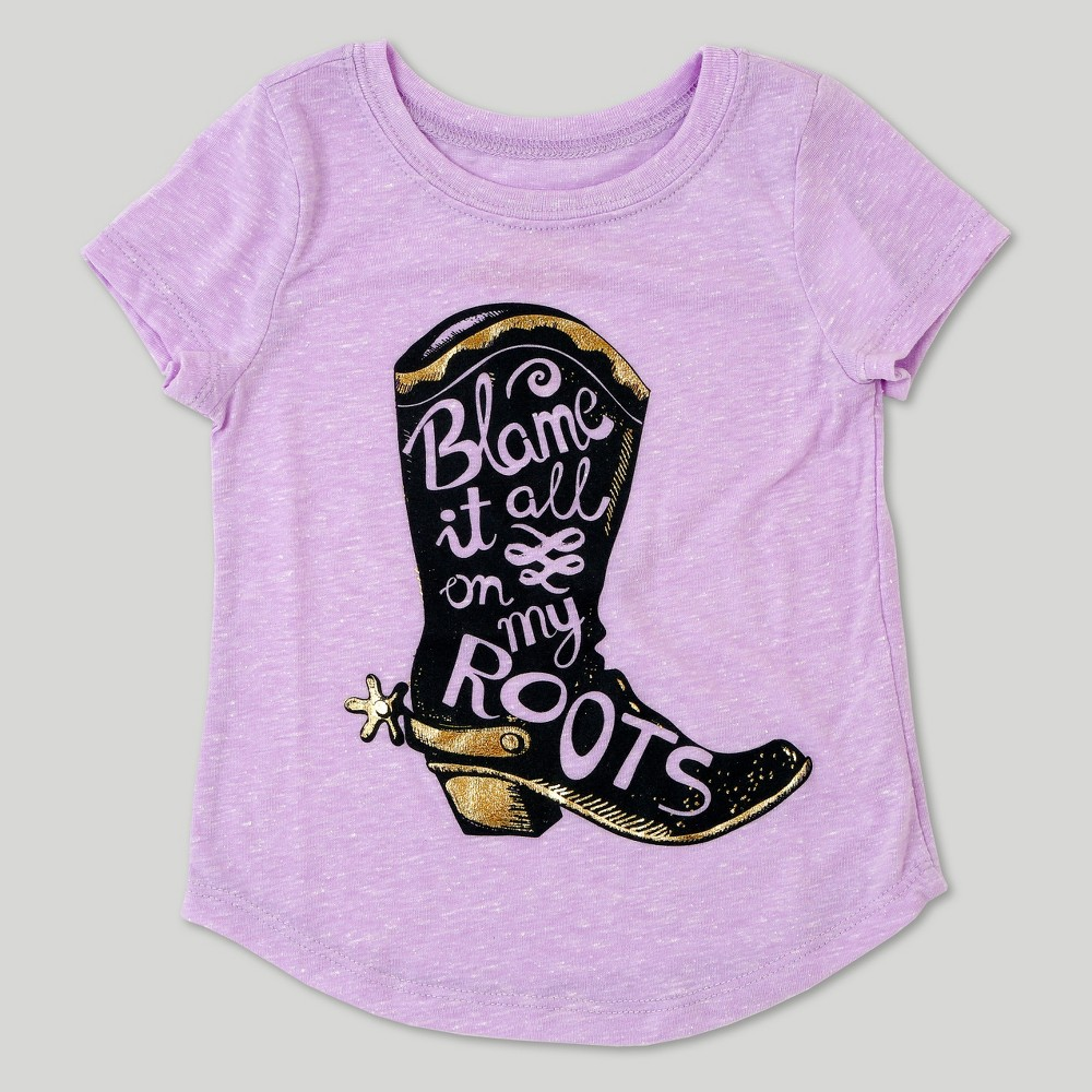 Toddler Girls Blame It On My Roots Short Sleeve T-Shirt - Lilac - 18 M, Purple
