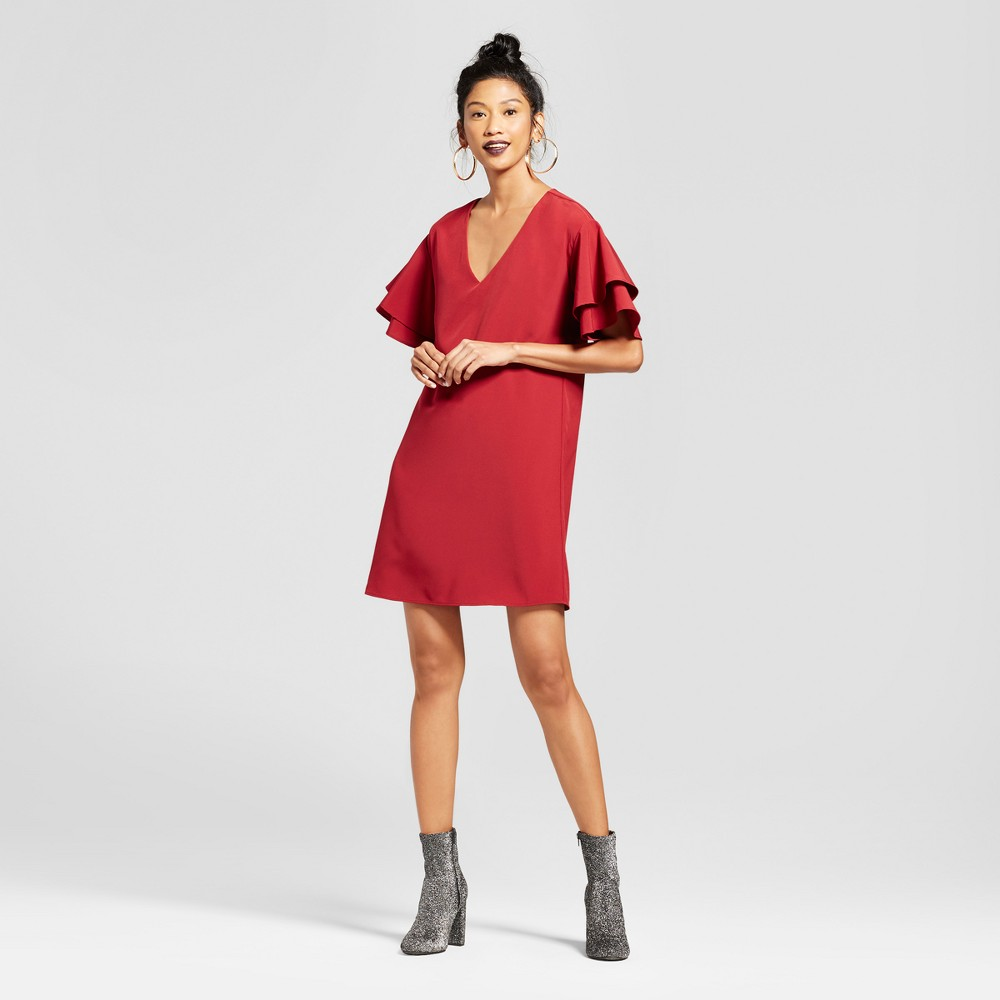 Womens Double Tiered Bell Sleeve V-Neck Dress - Le Kate (Juniors) Burgundy L, Red