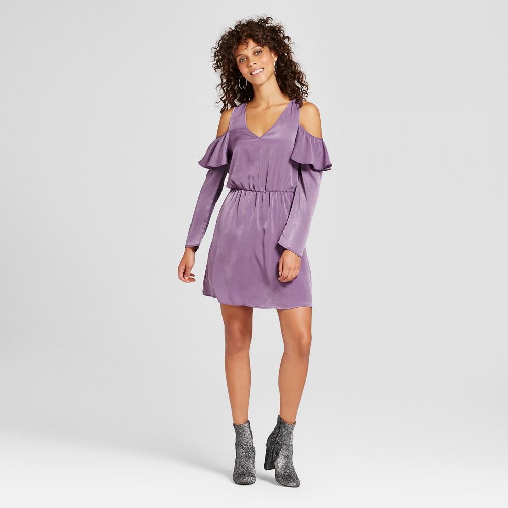 Womens Ruffle Cold Shoulder Dress - Le Kate (Juniors) Purple L