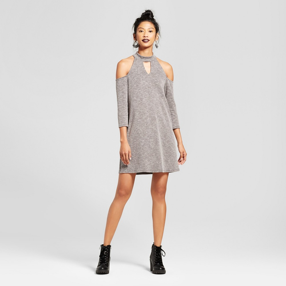 Womens Cold Shoulder Choker Cut Out Dress - Le Kate (Juniors) Black S, Black Gray