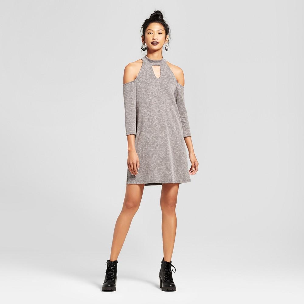 Womens Cold Shoulder Choker Cut Out Dress - Le Kate (Juniors) Black L, Black Gray