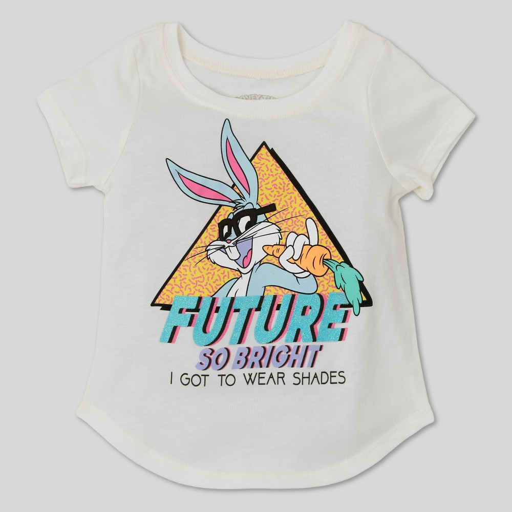 Toddler Girls Looney Tunes Bugs Bunny Short Sleeve T-Shirt - Ivory - 3T, White