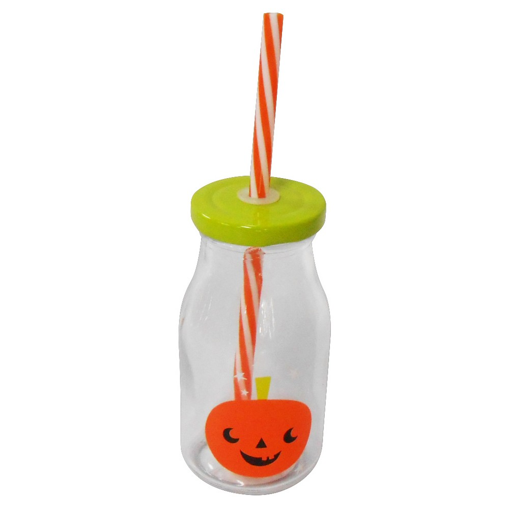 8 packs of 1 Halloween Drink Cup with Straw Pumpkin - Bullseyes Playground