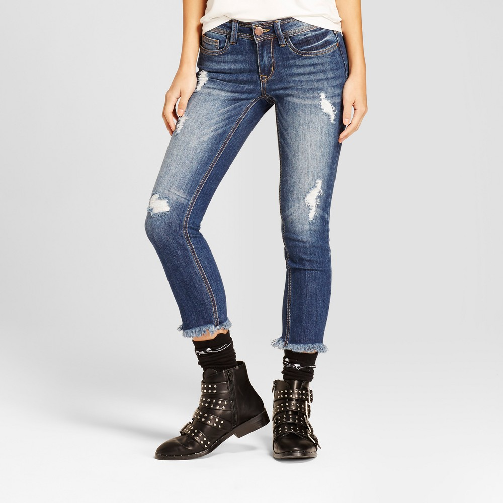 Womens Destructed Raw Hem Skinny Jeans - Dollhouse (Juniors) Medium Wash 9, Blue