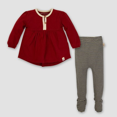 Burt's Bees Baby® Girls' Organic Billowing Dress & Pant Set - Red 0-3M