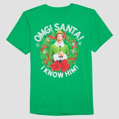 Men's Elf OMG ! Santa Audio Short Sleeve Graphic T-Shirt - Green L