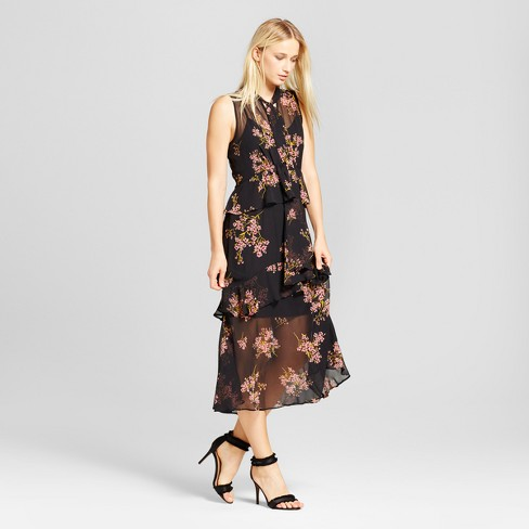 Women's Tiered Ruffle Midi Dress  - Who What Wear™ Black Floral - image 1 of 3