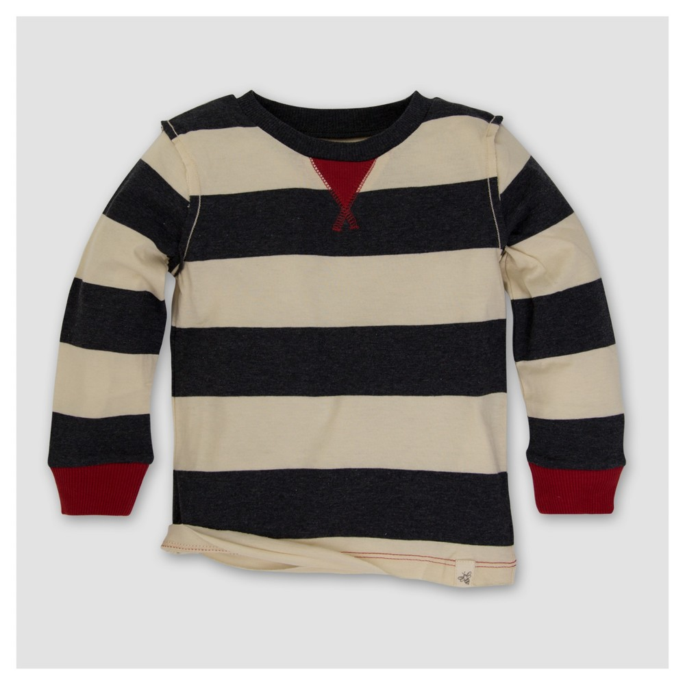 Burts Bees Baby Boys Organic Contrast Inset Rugby Stripe T-Shirt - Gray 3-6M, Size: 3-6 M, White Black