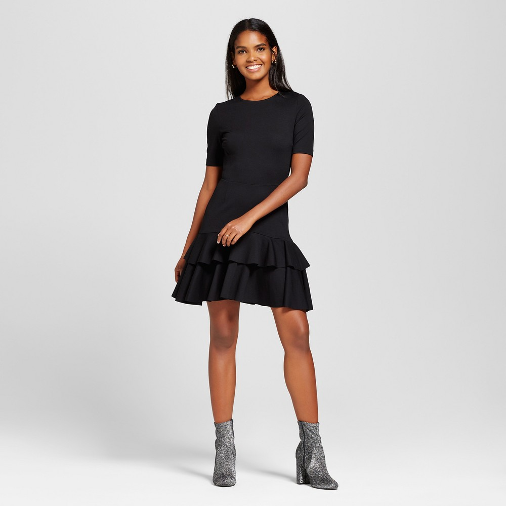Women's Ruffle Hem Elbow Sleeve Dress - Necessary Objects Black M