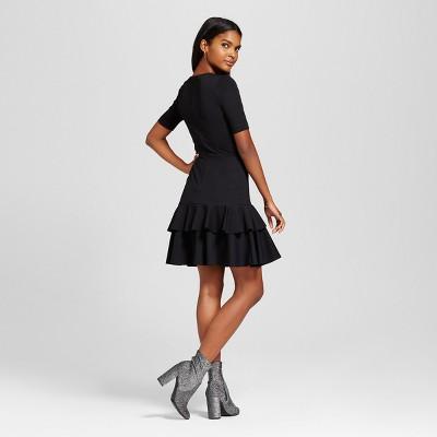 Black Ruffled Dress with Elbow Sleeve
