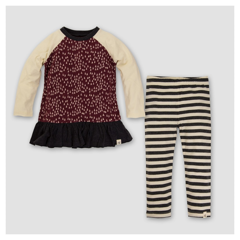Burts Bees Baby Girls Organic Mini Trees Raglan Tunic & Leggings Set - Gray 6-9M, Size: 6-9 M, Red White Black