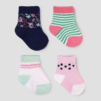 Baby Girls' 4pk Garden Crew Socks - Just One You® made by carter's Mint/Pink 0-3M