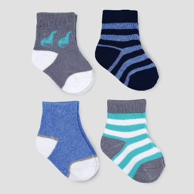Baby Boys' 4pk Dino Crew Socks - Just One You® made by carter's Blue/Gray 3-12M