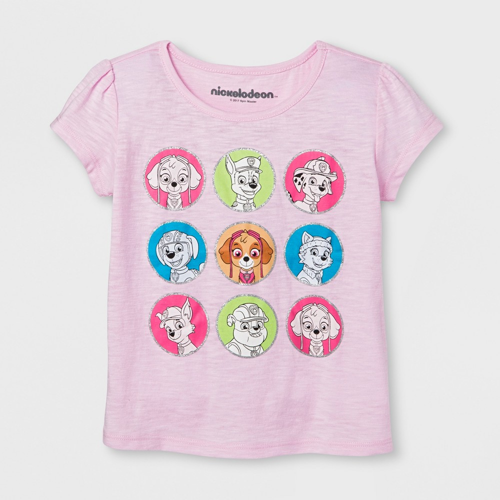 Toddler Girls Paw Patrol Pups In Color Dots T-Shirt - Pink 3T, Light Pink