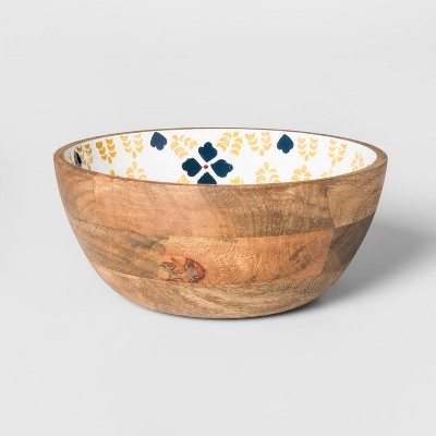 Round Mango Wood Serving Bowl 33oz Yellow/Blue Floral - Threshold™