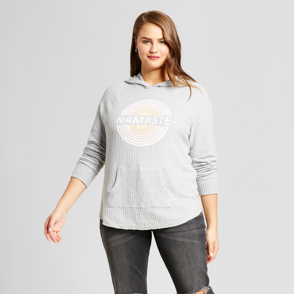 Womens Plus Size Namaste Graphic Hoodie Sweatshirt - Grayson Threads (Juniors) Gray 2X