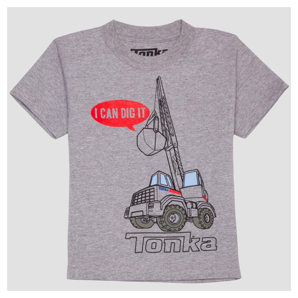 Toddler Boys Tonka Dig Short Sleeve T-Shirt - Light Grey - 18 M, Gray