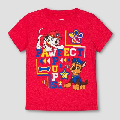 Toddler Boys' PAW Patrol Perfect Pups Chase Short Sleeve T-Shirt - StopLight Red - 3T