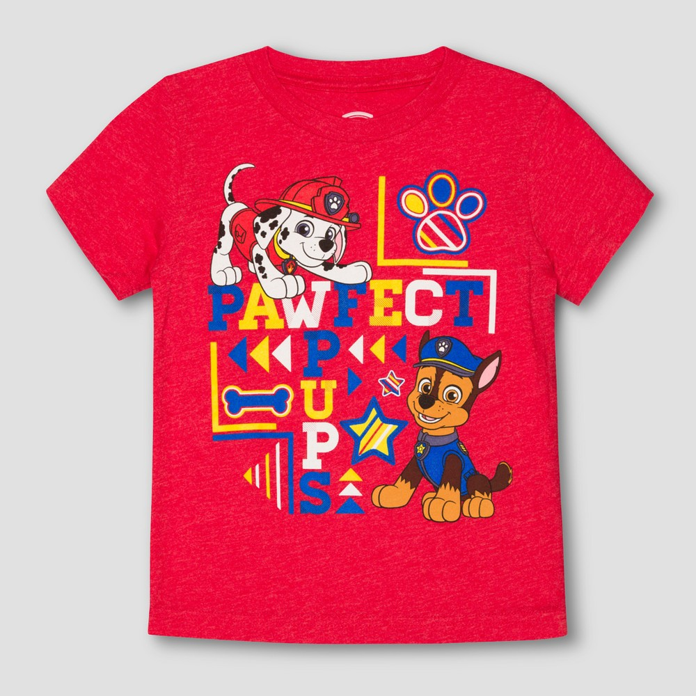 Toddler Boys Paw Patrol Perfect Pups Short Sleeve T-Shirt - StopLight Red - 4T