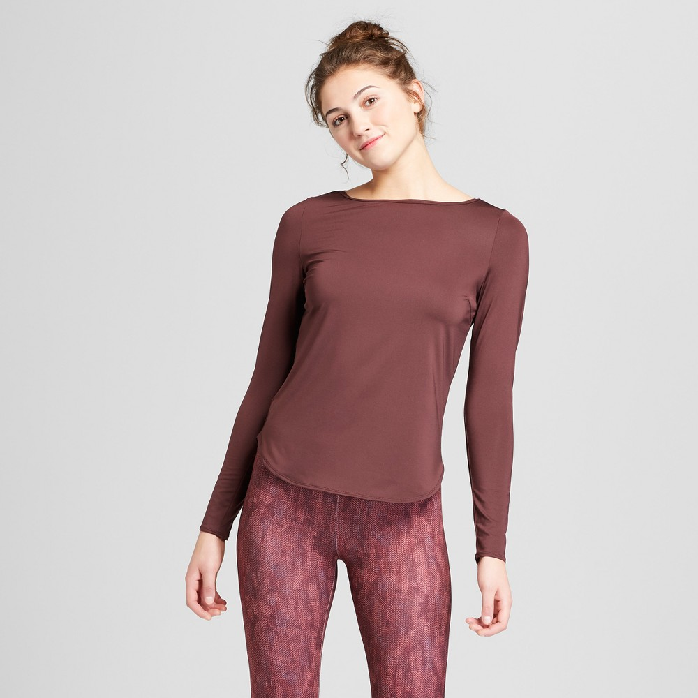 Women's Long Sleeve T-Shirt with Back Cut Out - JoyLab Brown M