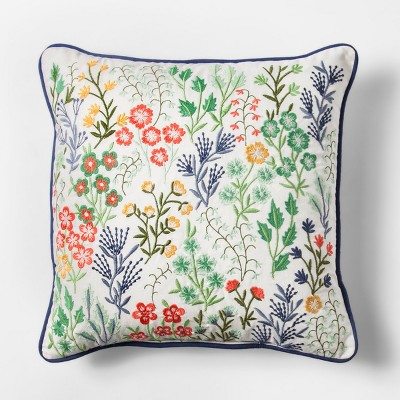 Blue Floral Embroidered Square Throw Pillow - Threshold™